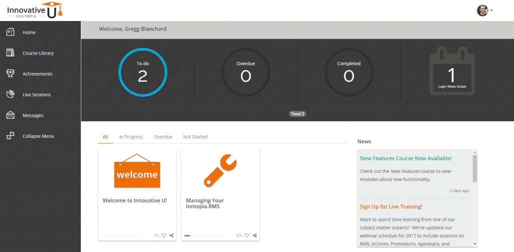 screenshot of elearning platform