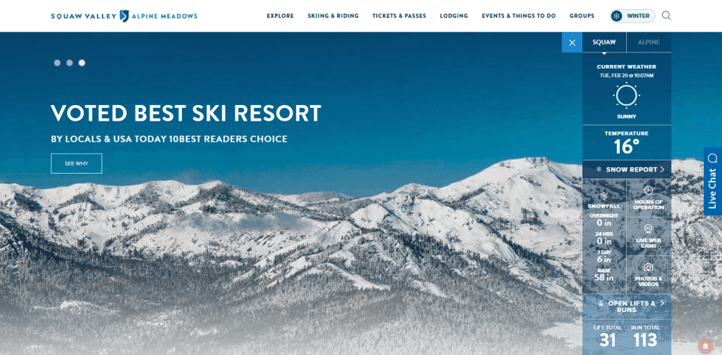 squaw valley website screenshot