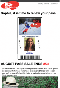 Screenshot of Butternut's redesigned pass sale email