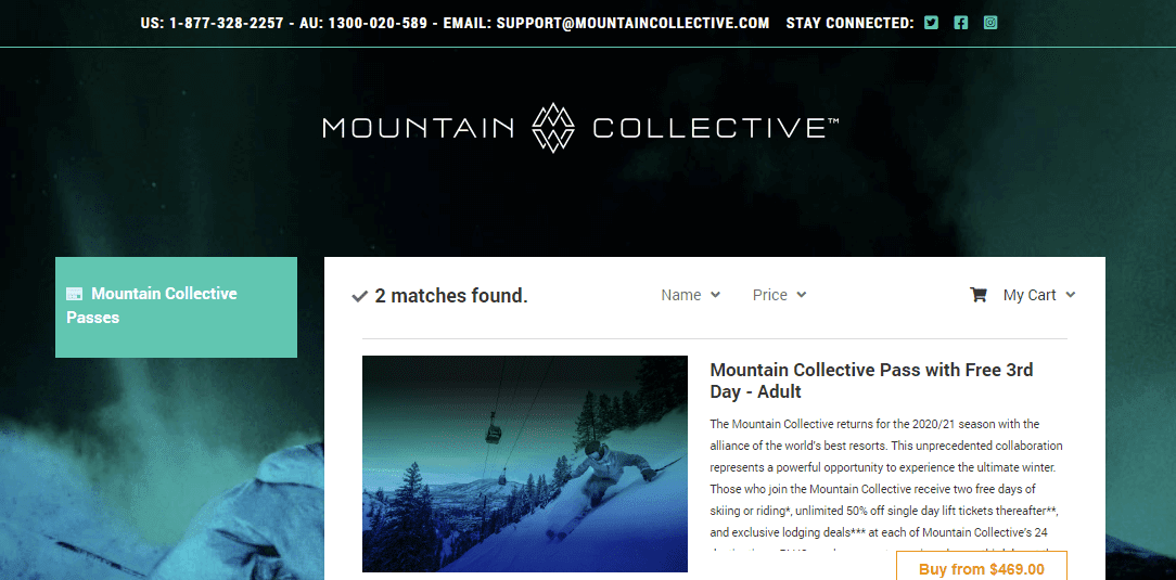 screenshot of mountain collective e-commerce store
